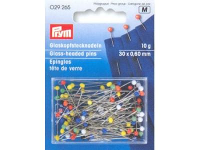 Булавка PRYM 029265 с разноцветными стеклянными головками 35*0,6 мм. (10g)
