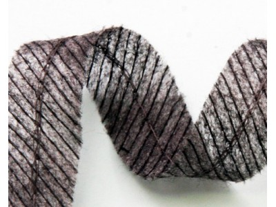 Лента нитепрошивная по косой усиленная цепочным швом 45г/м цв серый 15мм (рул 100м)