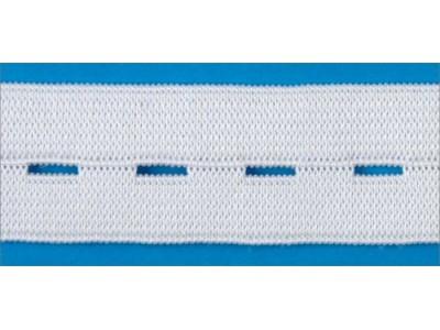 Резинка вязаная стандарт Перфорированная цв белый 020мм (уп 25м) УРБ