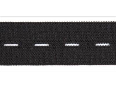 Резинка вязаная стандарт Перфорированная цв черный 020мм (уп 25м) УРЧ